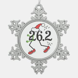 Christmas Holiday 26.2 Funny Marathon Runner Snowflake Pewter Christmas Ornament