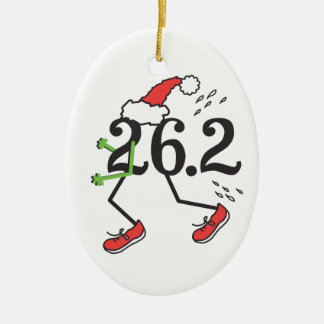 Christmas Holiday 26.2 Funny Marathon Runner Double-Sided Oval Ceramic Christmas Ornament