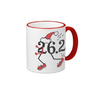 Christmas Holiday 26.2 Funny Marathon Runner Ringer Coffee Mug