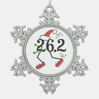 Christmas Holiday 26.2 Funny Marathon Runner Snowflake Pewter Christmas Ornament