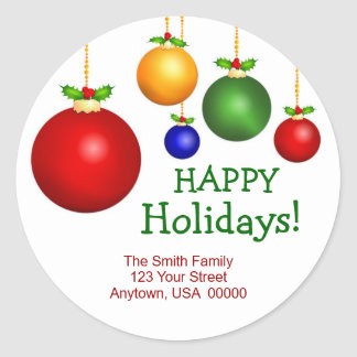 Christmas Holiday Address Labels Classic Round Sticker