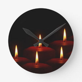 Christmas Holiday Advent Candle Flames Round Clock