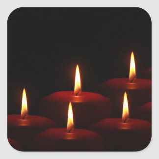 Christmas Holiday Advent Candle Flames Square Sticker