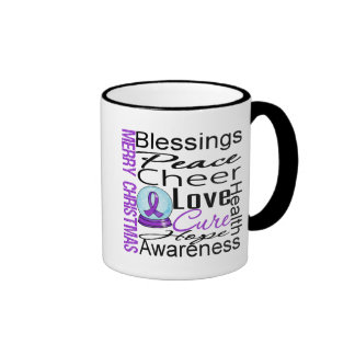 Christmas Holiday Alzheimer's Disease Collage Ringer Coffee Mug