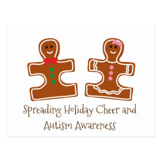 Christmas Holiday Autism Awareness Puzzle Cookies Postcard