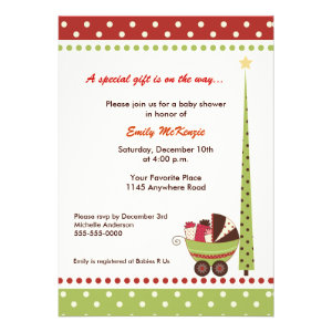 Christmas Holiday Baby Shower Invitation