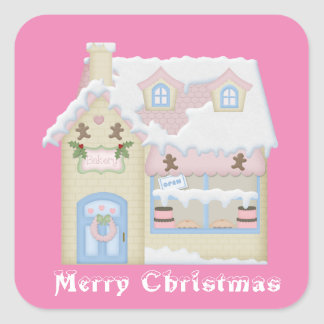 Christmas Holiday Bakery pink sticker