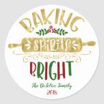 """Christmas Holiday - Baking Spirits Bright - Multi Classic Round Sticker<br><div class=""""desc"""">Christmas Holiday - Baking Spirits Bright - Multi - Round Sticker - Customize your baked gift!</div>"""