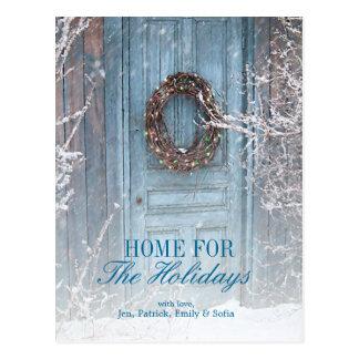 Christmas Holiday Barn Door Postcard