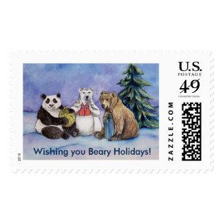 Christmas Holiday Bears Art Custom Postage Stamps