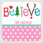 "Christmas Holiday Believe Pink Stickers<br><div class=""desc"">Christmas Holiday Believe Pink Stickers</div>"