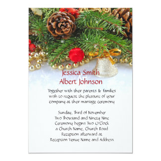 Christmas Holiday Bell Wedding Invite