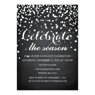 Christmas Holiday Black Chalkboard Family Party Card