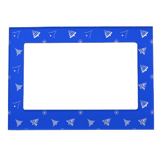christmas holiday blue pattern magnetic picture frame