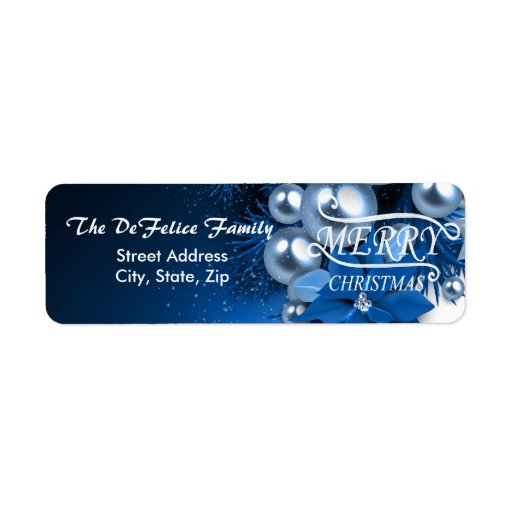 Christmas Holiday Blue Pearl Ornaments Return Address Label
