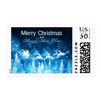 Christmas Holiday Blue Santa and Sleigh Postage