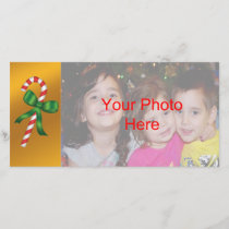 Christmas Holiday Candy Cane Photo Card Template