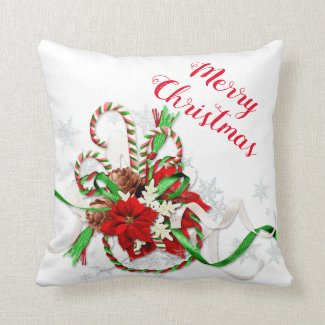 Christmas Holiday Candy Canes and Snowflakes Throw Pillow