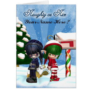 Christmas Holiday Card ght or Nice Elfs at the