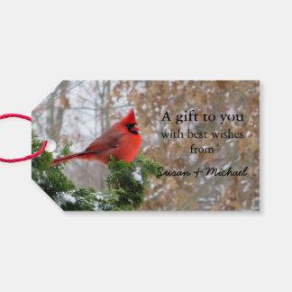 Christmas holiday cardinal branch gift tags