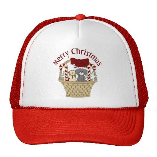 Christmas Holiday Cat Basket Trucker Hat