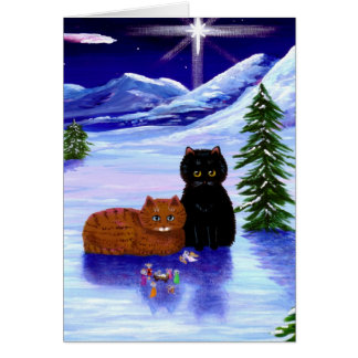 Christmas Holiday Cat Mouse Christian Religious Card