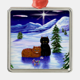 Christmas Holiday Cat Mouse Christian Religious Metal Ornament