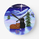 Christmas Holiday Cat Mouse Christian Religious Round Clock