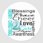 Christmas Holiday Cervical Cancer Collage Round Stickers
