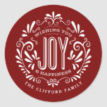 "CHRISTMAS HOLIDAY CHALK ART ORNAMENT STICKERS<br><div class=""desc"">WISHING YOU JOY & HAPPINESS: Bright and cheerful whimsical round chalkboard style Christmas ornament with retro banner, vintage red and white typography, and fancy swirls. Personalize this decorative holiday ROUND label with your family name or custom greeting. Perfect for sealing envelopes or as gift tags. Contemporary, classic, modern and stylish...</div>"