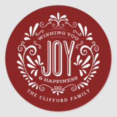 Christmas Holiday Chalk Art Ornament Stickers at Zazzle