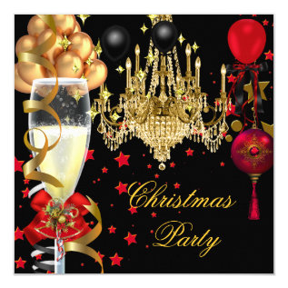 Christmas Holiday Champagne Party Red Gold Black 4 Card at Zazzle