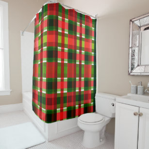 Christmas Holiday Checkered Squares Buffalo Plaid Shower Curtain