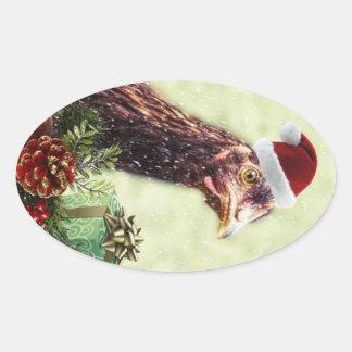 Christmas Holiday Chicken in Santa Hat Oval Sticker