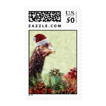 Christmas Holiday Chicken in Santa Hat Postage