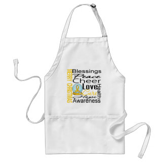Christmas Holiday Childhood Cancer Collage Adult Apron