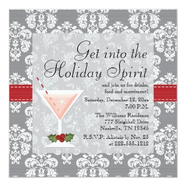 Christmas Themed Christmas Holiday Cocktail Party Invitations