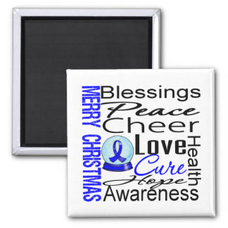 Christmas Holiday Colon Cancer Collage 2 Inch Square Magnet