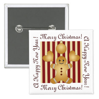 Christmas Holiday Cookies Red Stripes Cute Button