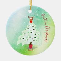 Christmas Holiday Corona Toilet Tree Lights Green Ceramic Ornament