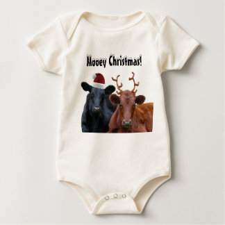 Christmas Holiday Cows in Santa Hat and Antlers Baby Bodysuit