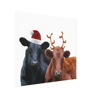 Christmas Holiday Cows in Santa Hat and Antlers Canvas Print