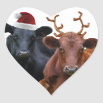 Christmas Holiday Cows in Santa Hat and Antlers Heart Sticker