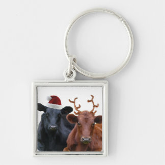 Christmas Holiday Cows in Santa Hat and Antlers Keychain