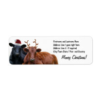 Christmas Holiday Cows in Santa Hat and Antlers Label