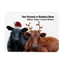 Christmas Holiday Cows in Santa Hat and Antlers Magnet
