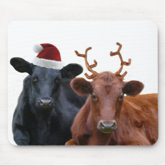 Christmas Holiday Cows in Santa Hat and Antlers Mousepads