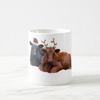 Christmas Holiday Cows in Santa Hat and Antlers Mug