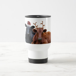 Christmas Holiday Cows in Santa Hat and Antlers 15 Oz Stainless Steel Travel Mug