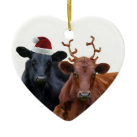 Christmas Holiday Cows in Santa Hat and Antlers Christmas Tree Ornament